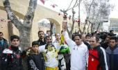 مشعل اولمبياد العمال في ايطاليا عام 2015 في بيت الامام الخميني بخمين