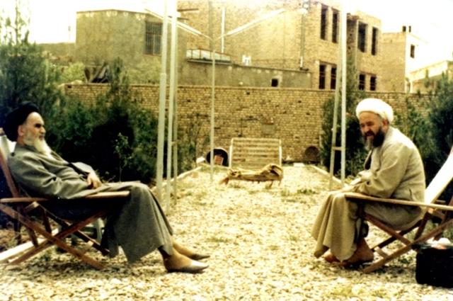 Imam Khomeini with his son-in-law, Ayatollah Ishraqi