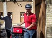 German road cyclist visits Imam`s house in Khomein