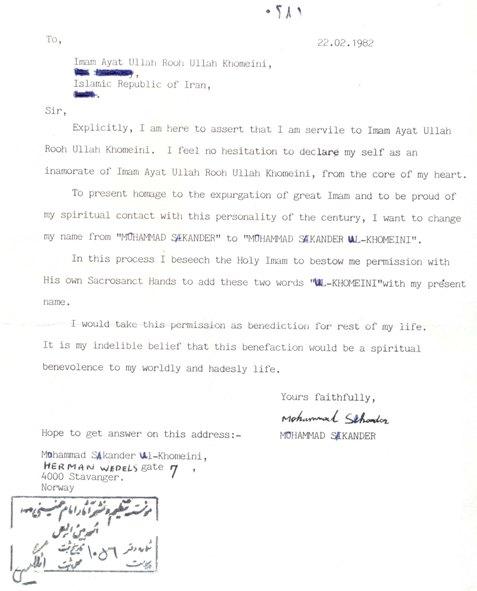 """Norwegian Asks permission to adopt his surname to """"Khomeini"""""""