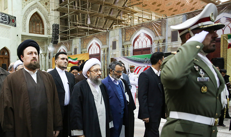 Iranian Judiciary Chief Ayatollah Sadeq Amoli Larijani with Ayatollah Hassan Khomeini at Imam Khomeini's holy shrine