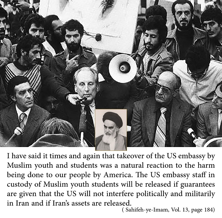 Imam Khomeini`s viewpoints about takeover the den of espionage by students