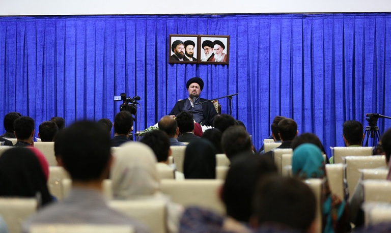 Members of Islamic student organization from Tehran University meet Ayatollah Seyyed Hassan Khomeini
