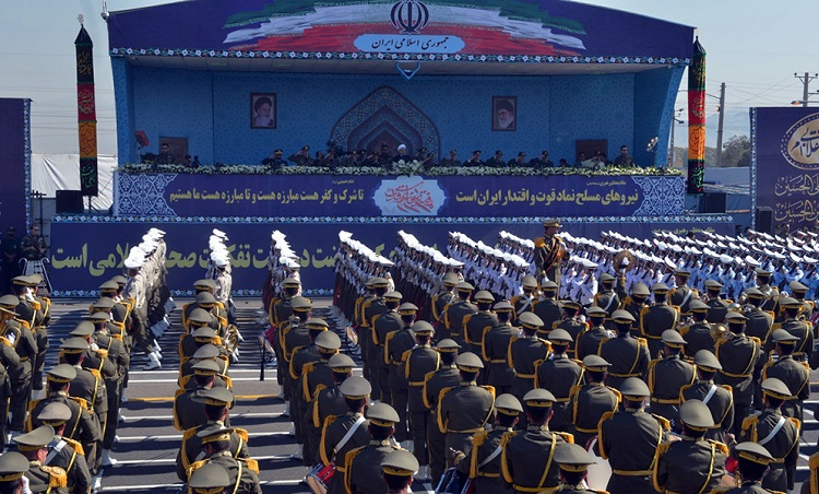 Iranian armed forces stage a parade near Imam Khomeini's shrine