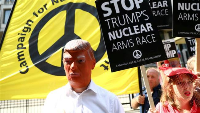 Anti-war campaigners in London hold anti-Trump protest rally