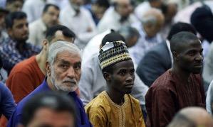 Ayatollah Imami Kashani leading Friday`s congregational prayer at Tehran`s central prayers Hall