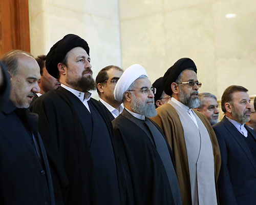 Iranian president and his senior ministers paying tribute to the founder of Islamic Republic
