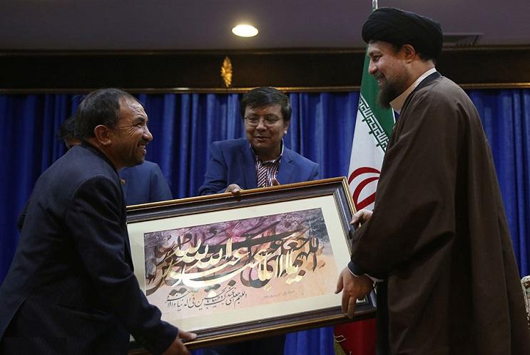 Head of Afghan religious delegations meet Seyyed Hassan Khomeini