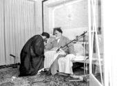 Imam Khomeini along with the current supreme leader