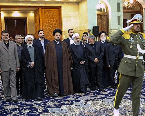 President Rouhani along with Seyyed Hassan Khomeini pays respect to late  Ayatollah Akbar Hashemi Rafsanjani