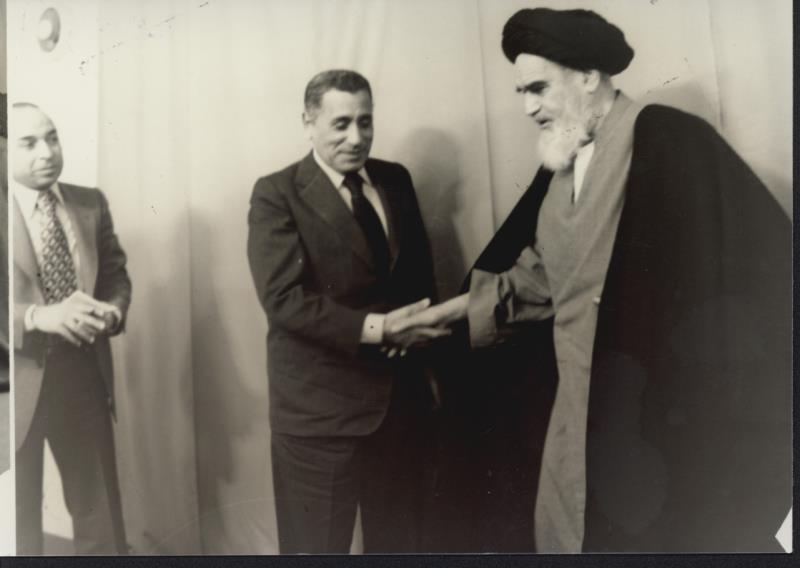 Imam Khomeini with Hasanain Haikal, a renowned writer