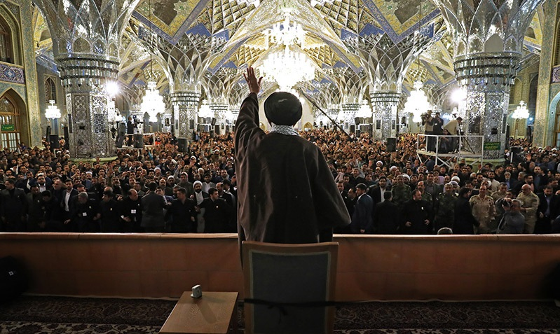 The presence and speech by supreme leader at Imam Reza (PBUH)'s holy shrine