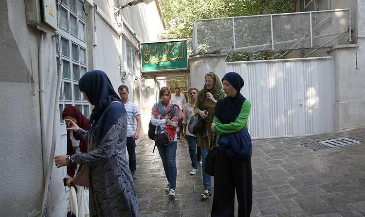 A group of cultural tourists from Bosnia and Macedonia visit Tehran's Jamaran complex