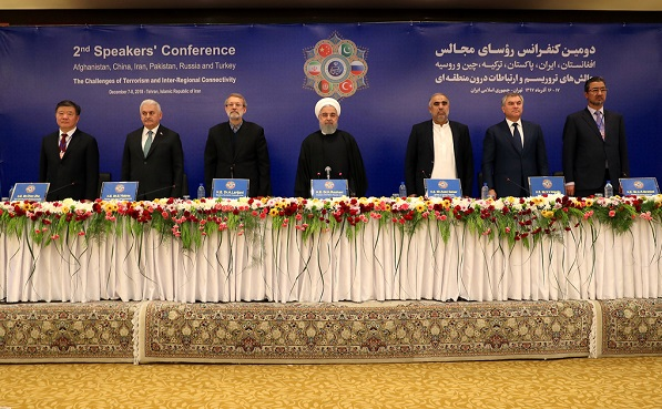 Iran hosted Speakers` Conference on the challenge of terrorism and inter-regional connectivity in December. The summit was attended by parliament heads from Iran, Russia, China, Turkey, Pakistan and Afghanistan. Iranian President Hassan Rouhani was also present at the summit.