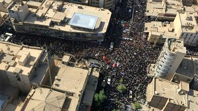 Iranians taking part in a funeral procession for victims of Ahvaz terror attack