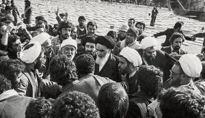 Imam Khomeini for the first time at Behesht Zahra Martyrs' Cemetery
