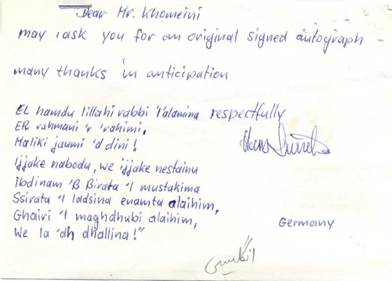 I ask you your original signed autograph