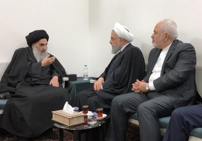 Iranian President Rouhani meets with senior Shia cleric Grand Ayatollah Sistani in Najaf