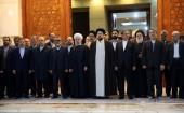 The president and his cabinet members pledge allegiance to Imam Khomeini's ideals