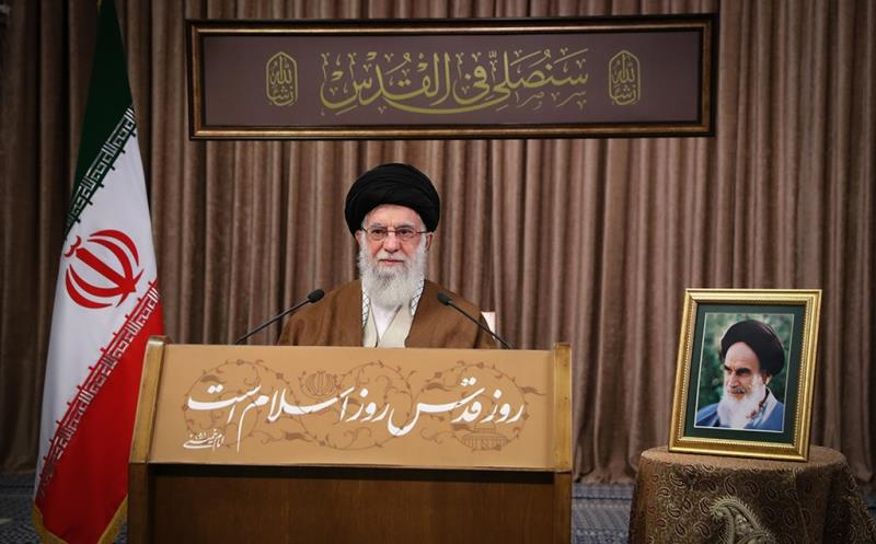 Leader of the Islamic Revolution Ayatollah Seyyed Ali Khamenei delivers speech as worldwide events held  to mark the International Quds Day