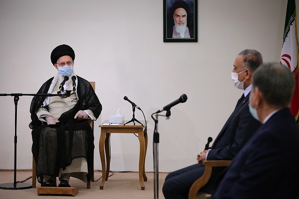 Leader of the Islamic Revolution Ayatollah Seyyed Ali Khamenei meets with the visiting Iraqi Prime Minister Mustafa al-Kadhimi