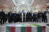 Seyyed Hassan Khomeini in the ceremony Martyr Fakhrizadeh casket taken to Imam Khomeini`s holy mausoleum for paying tribute