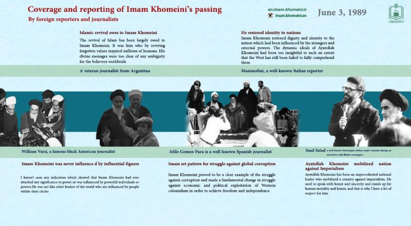 Coverage and reporting of Imam Khomeini's passing by foreign reporters and journalists