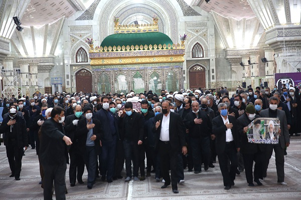 The funeral and burial ceremony of Ayatollah Jalali Khomeini, Imam Khomeini`s revolutionary companion at his holy mausoleum