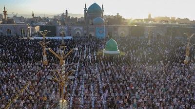 Iranian worshipers perform prayers on Eid al-Adh