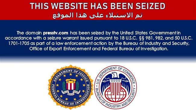 Message on websites of Iranian, regional TVs claims 'domain seizure by US govt.'
