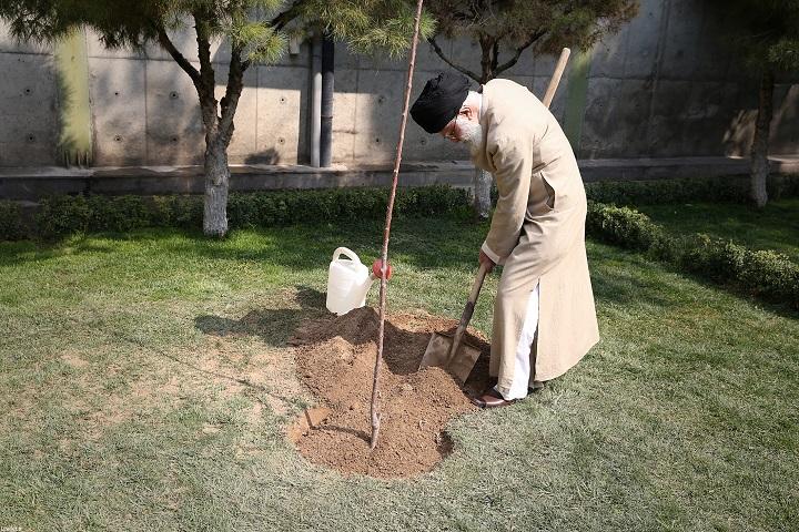 L'ayatollah Khamenei plante des jeunes arbres, à l'occasion de la semaine des ressources naturelles