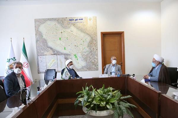 Rencontre du chef de l`Institut pour l`organisation et la publication des œuvres de l`Imam Khomeini (PSL) avec le président du Conseil islamique de Mashhad