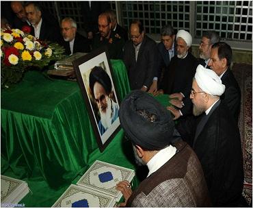 صدر حسن روحانی اور حکومتی کابینہ کی امام خمینی(رح)  کے مزار پر حاضری